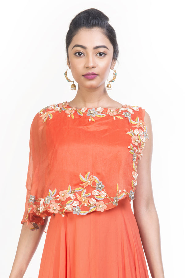 Tangerine Cape Dress