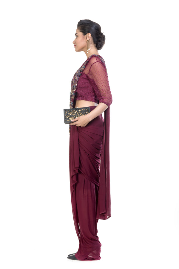 Wine Dhoti Drape Saree