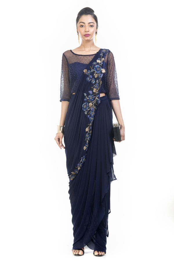 Navy Blue Dhoti Drape Saree