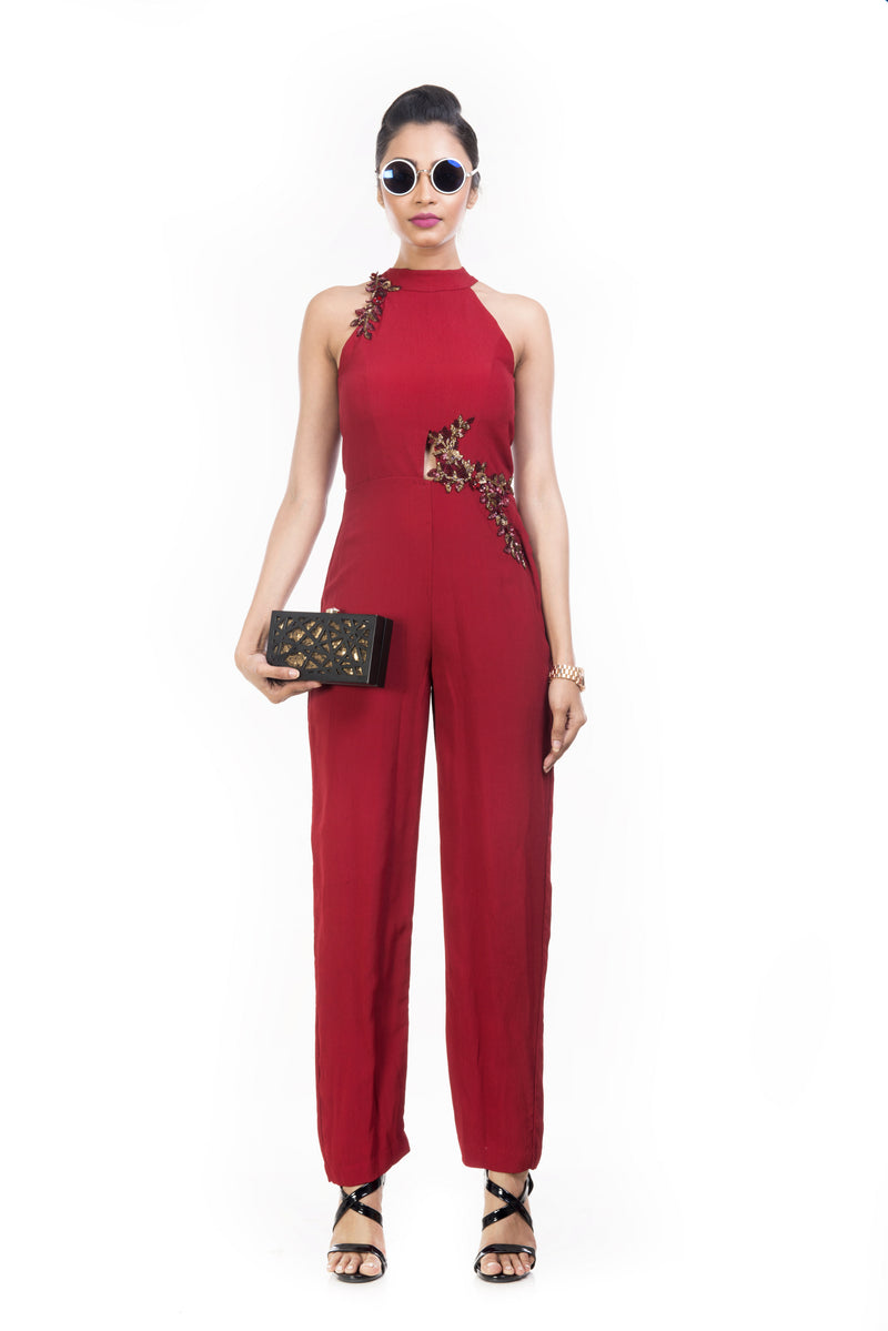 Wine Fitted Jumpsuit