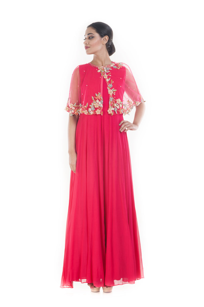 Rani Pink Floral Embroidery Cape Gown
