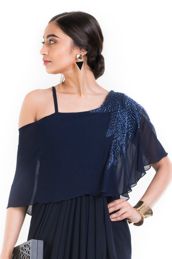 Navy Blue Lift Up Dress With One Sided Drop Shoulder Cape.
