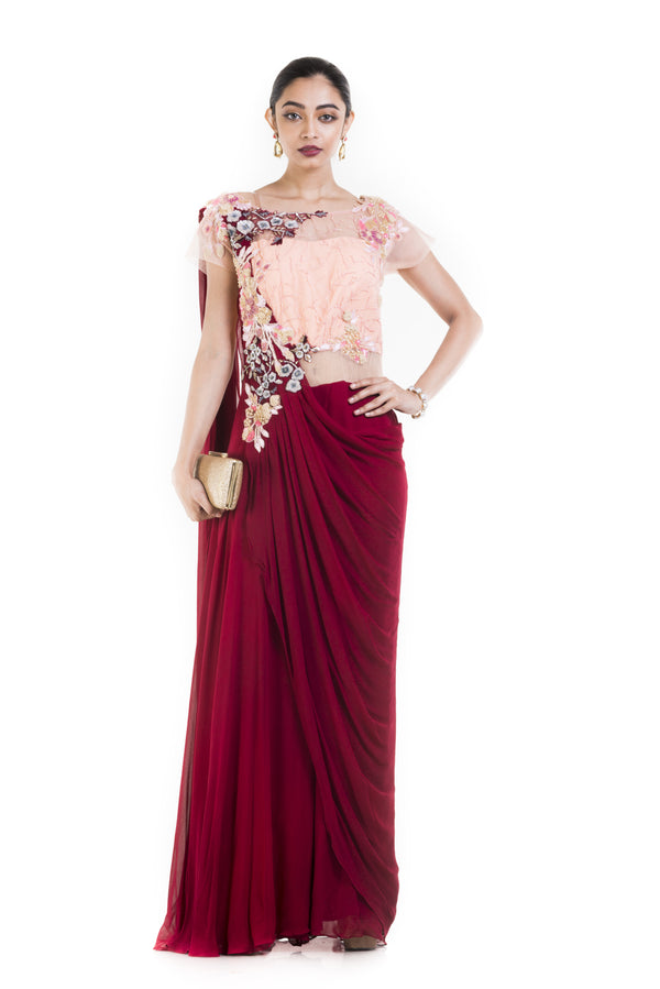 Wine and Peach Draped Jumpsuit Saree