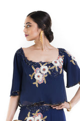 Indigo Blue Wide Neck Cape Dress