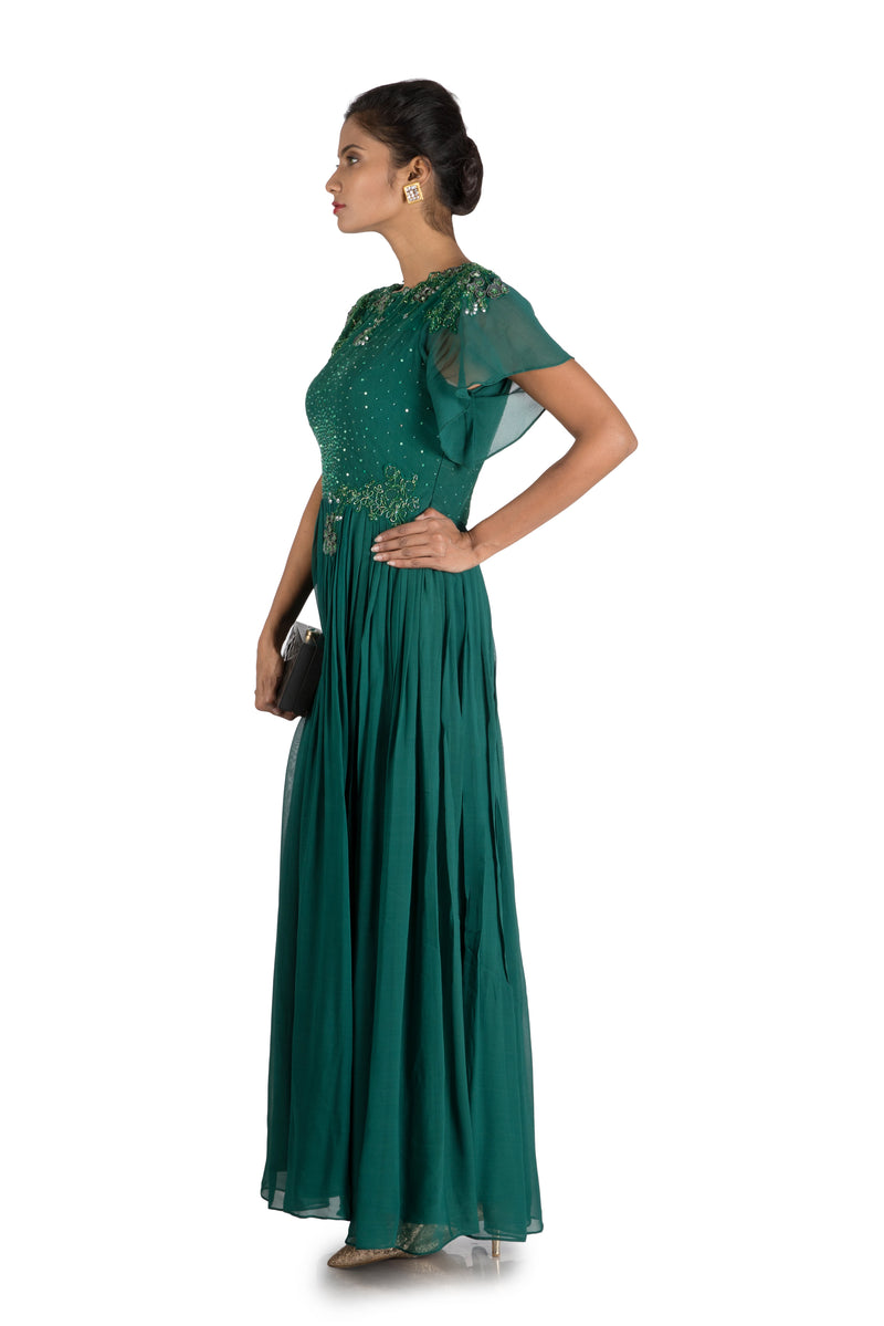Dark Pine Flare sleeves  Pleated Maxi