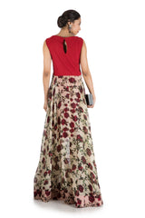 Floral Printed Flare Gown With wine Yolk