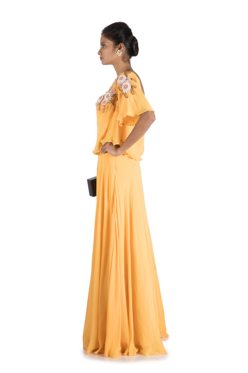 Alphonso Yellow Flare Sleeve Gown