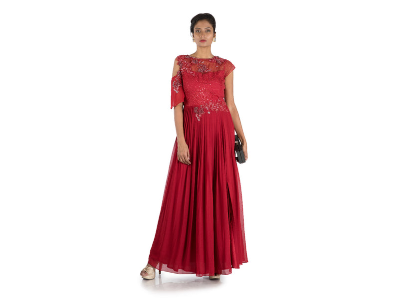Wine Pleated Maxi