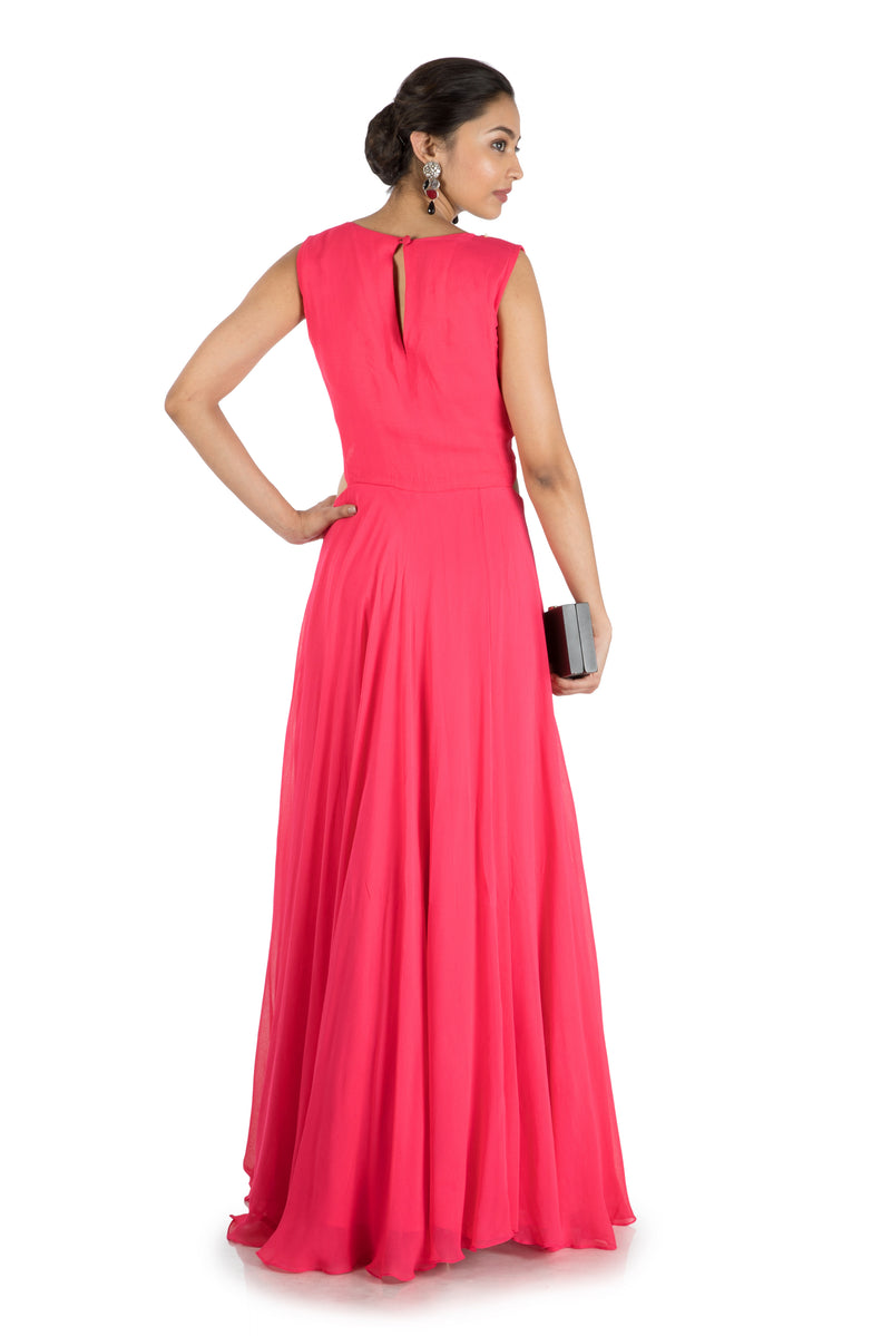 Bright Raspberry Waist Cut Flare Gown