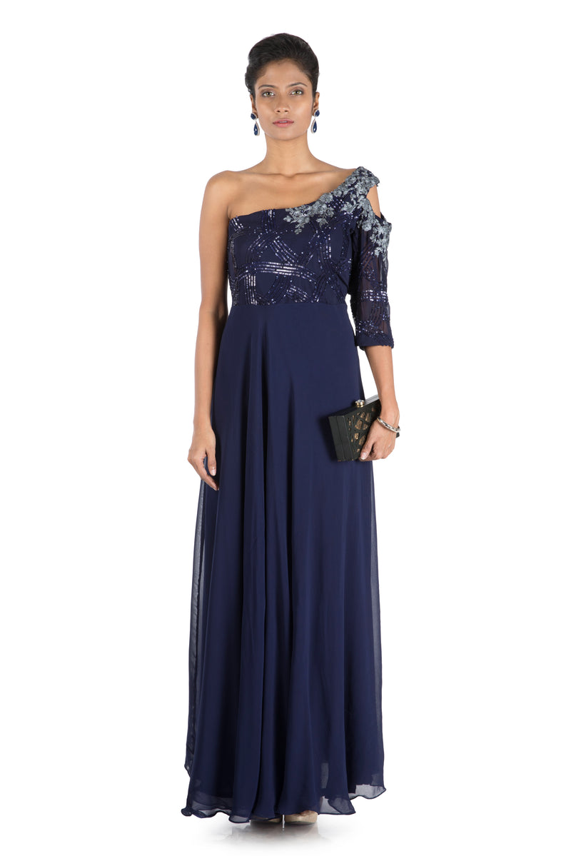 Midnight Blue Off Shoulder Flare Gown With One Side Cold Shoulder