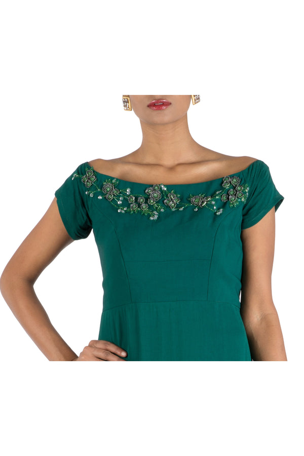 Bottle Green Wide Shoulder Gown