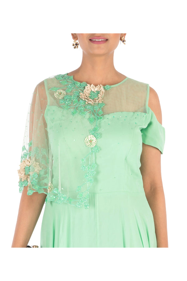 Hand Embroidered Lime Green Gown With One Side Cape &  Cold-Shoulder