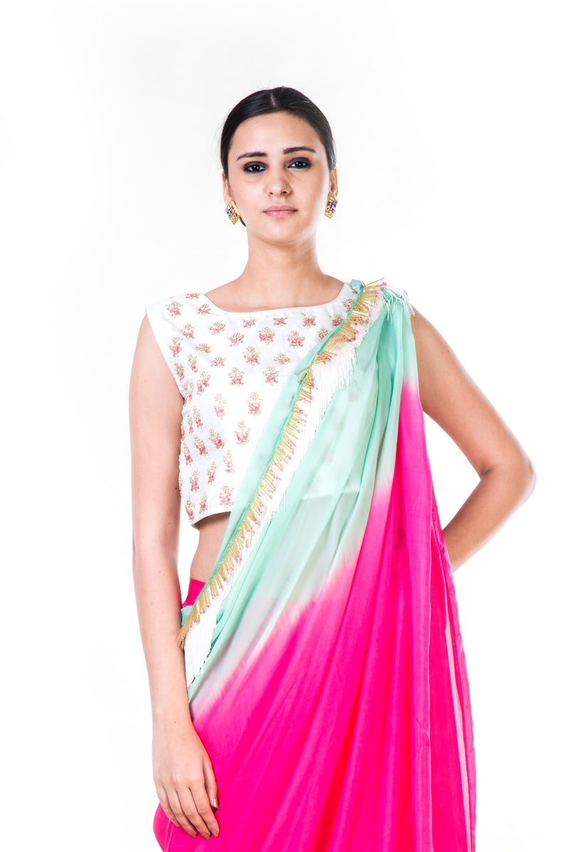 Hand Embroidered White Blouse with a Pink Palazzo & Shaded Dupatta