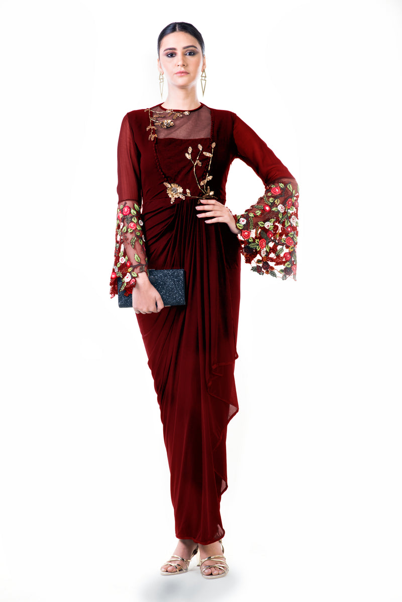 Maroon Embroidered Bell Sleeves Draped Dress