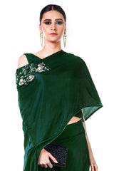 Bottle Green Draped Gown with a Hand Embroidered Cape Dupatta.