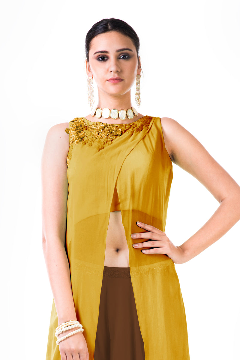 Embroidered Mustard Overlapped Crop Top with Brown Palazzo Pant