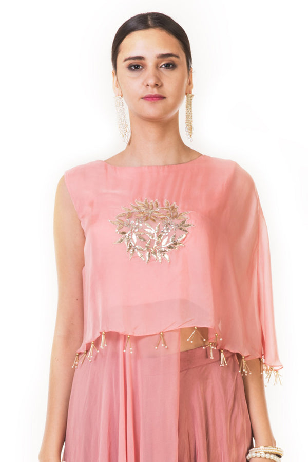 Peach & Green  Indowestern Crop Top with an Attached Long Cape & a Palazzo
