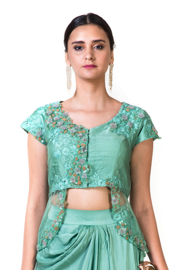 Green Hand Embroidered Jacket Crop Top & Draped Skirt