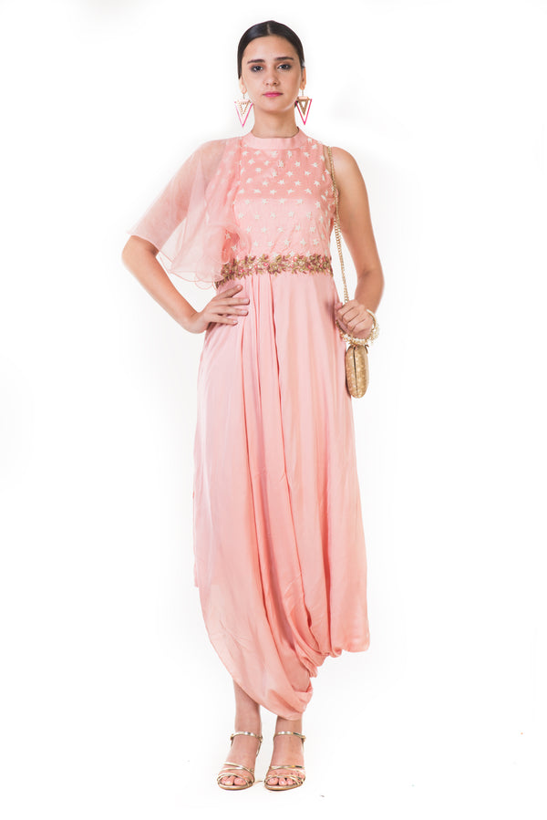 Peach Embroidered Draped Indowestern Dress with Frill Sleeves