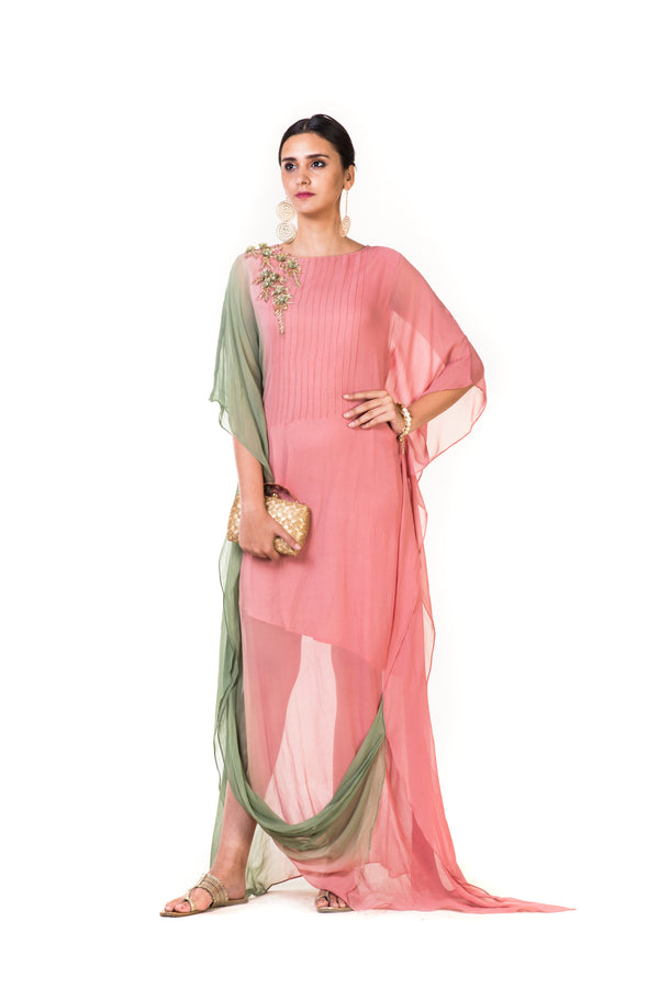 Pink & Green Shaded Kaftan Drape Gown with Floral Embroidery