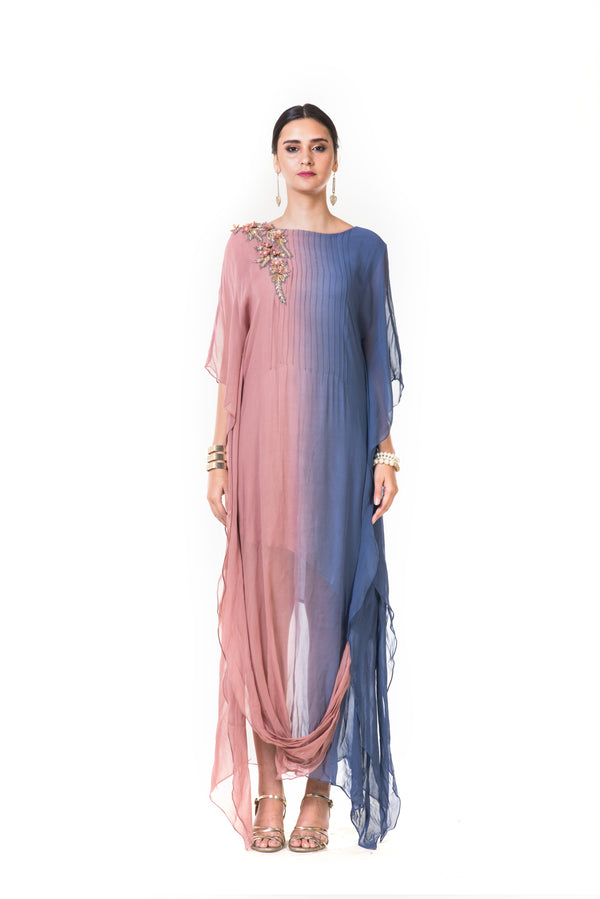 Pink & Blue Shaded Kaftan Drape Gown with Floral Embroidery