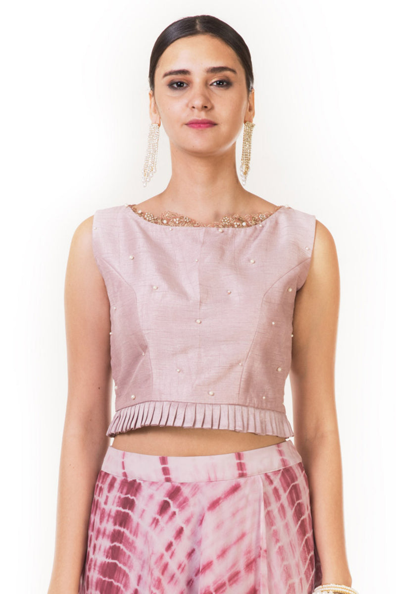 Onion Pink Pleated Blouse & Tie & Dye Crop Top & Skirt with Attached Pants.