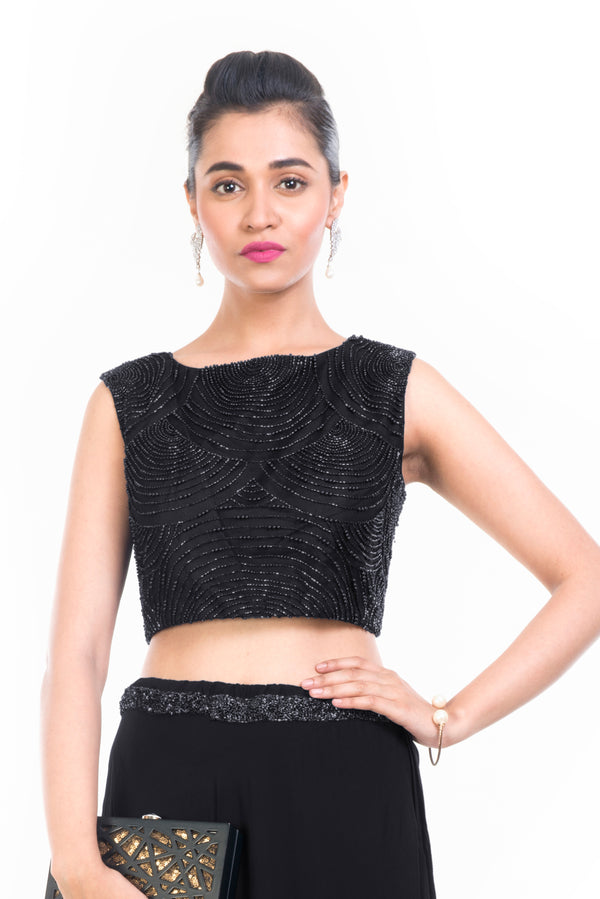 Black Midnight Pearl Crop Top Set