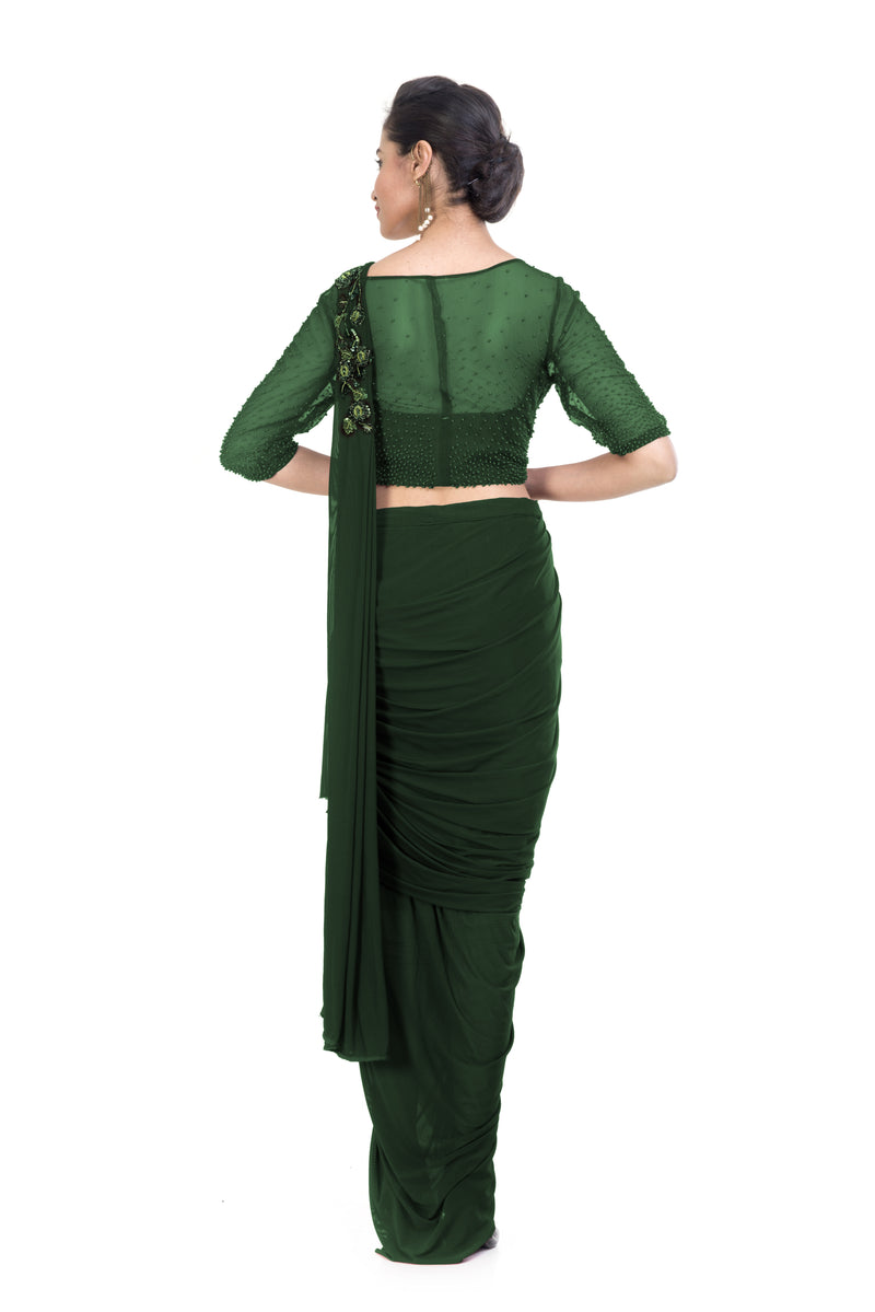 Green Dhoti Drape Saree