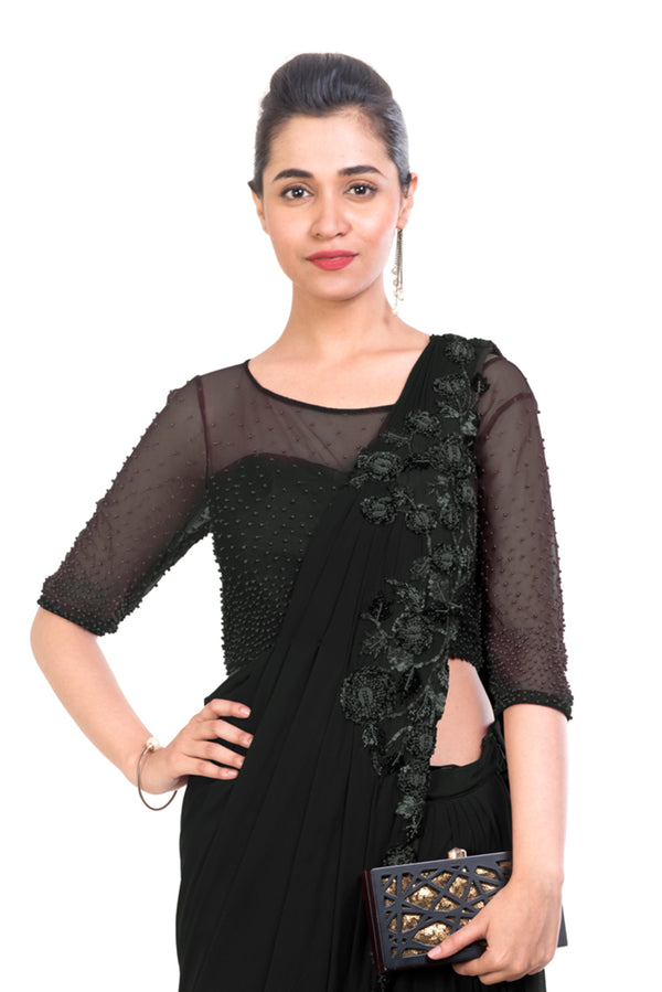 Black Dhoti Drape Saree