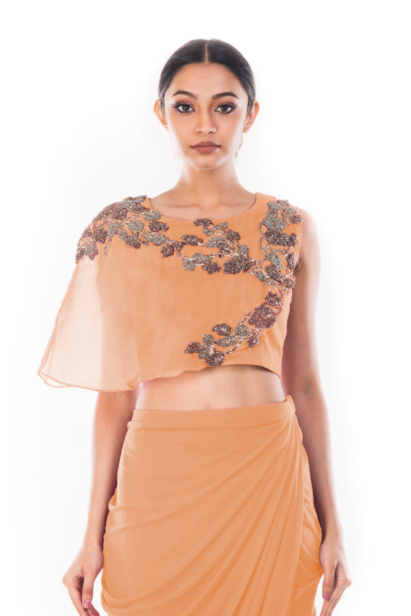 Peach CropTop & Draped Skirt