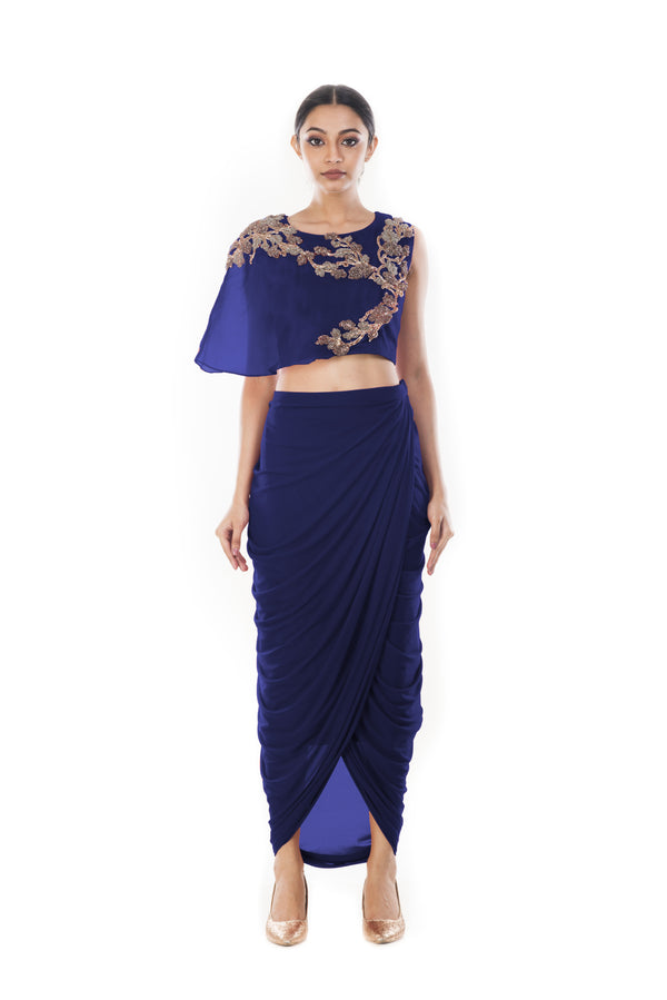 Navy Blue Bandeau Crop Top and Dhoti Skirt