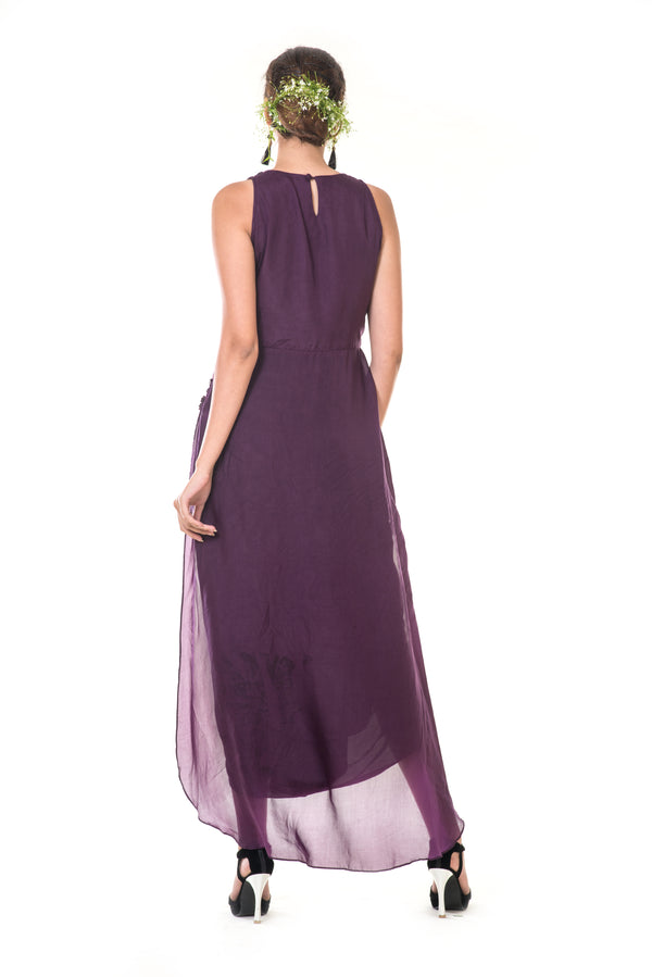 Purple Hand Embroidered Asymmetrical Peplum Top with a Black Dhoti Skirt