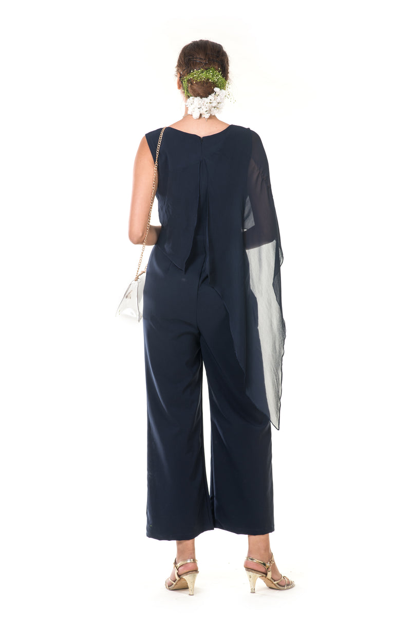 Hand Embroidered Blue Jumpsuit with Tie-Knot Cape