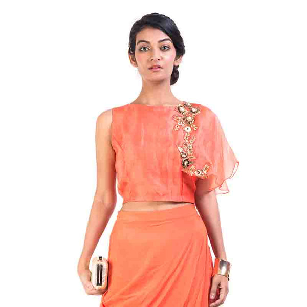 Bright Orange Cape-Cropper With Wrap Dhoti Skirt