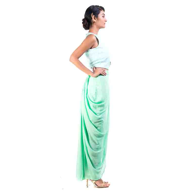 Sky Blue Cape-Cropper With Aqua Dhoti Wrap Skirt