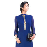 Classic Blue, Gold Pipe Tunic