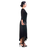 Black Cold Shoulder Asymmetrical Dress