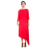 Red Cold Shoulder Asymmetrical Dress