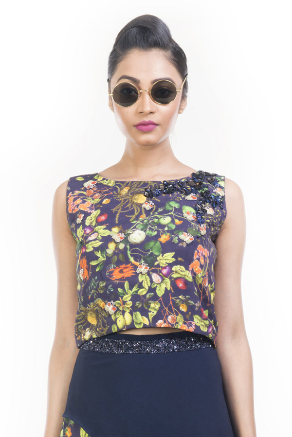 Printed Crop Top & Pencil Skirt Set