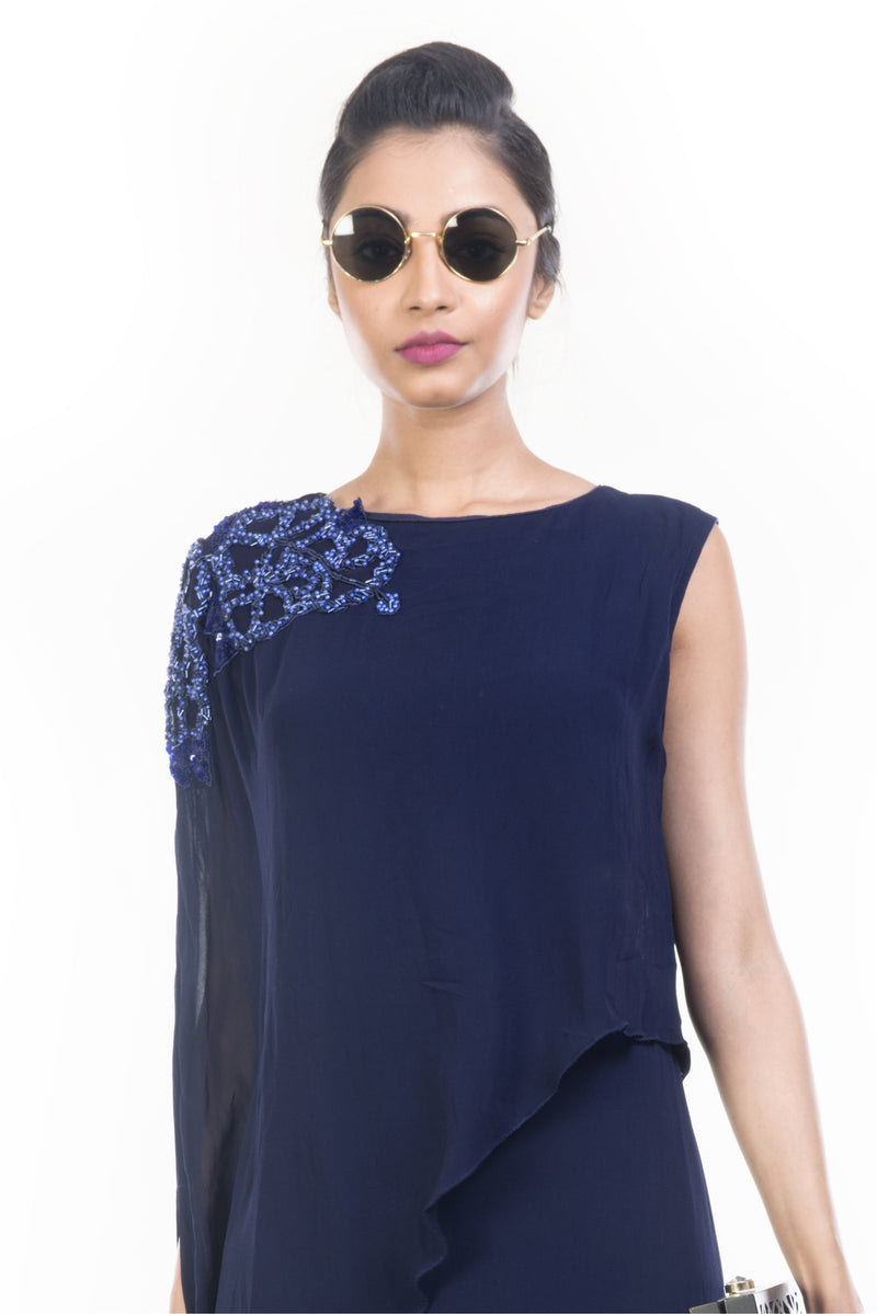Navy Blue Long Layered Cape Tunic