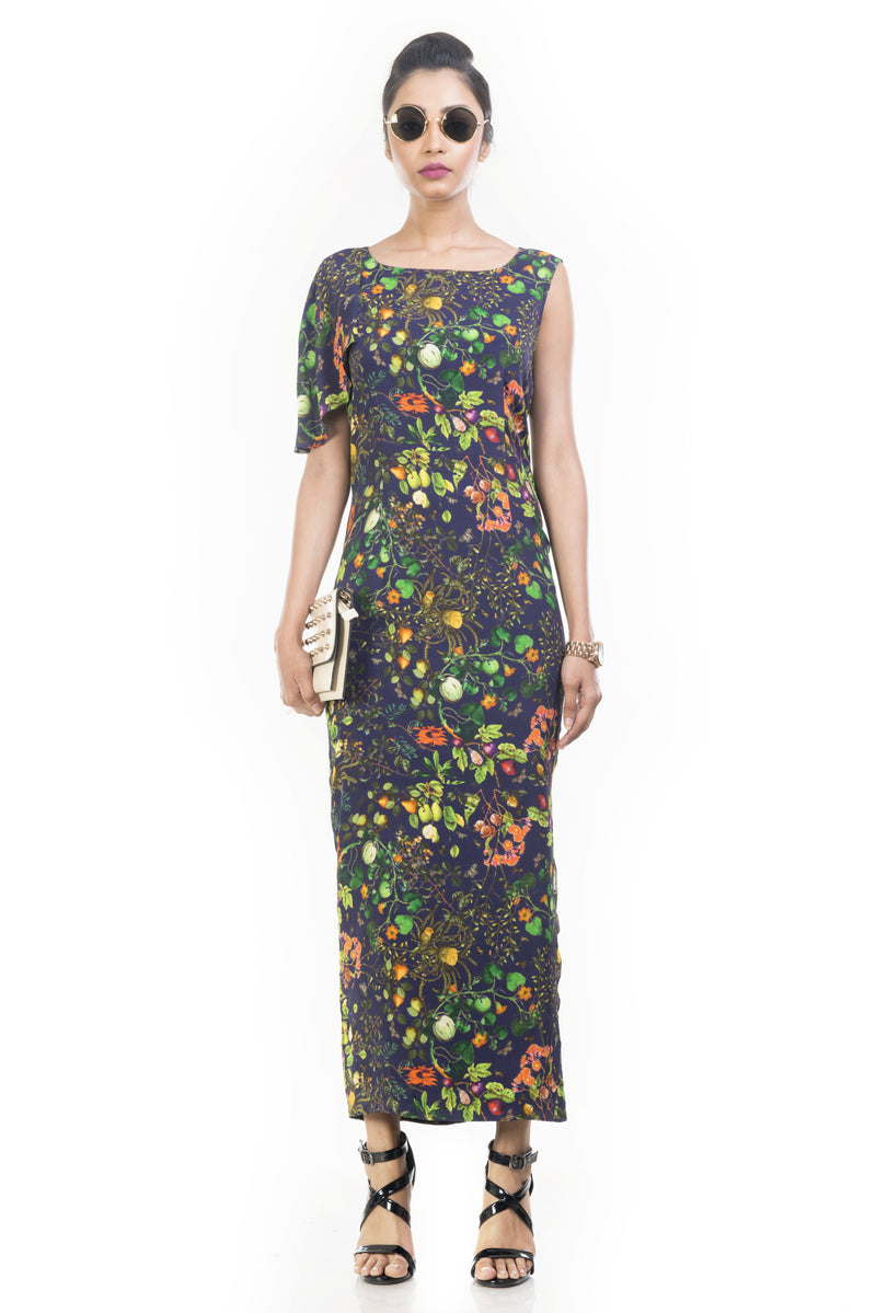 Midnight Botanical Garden Print Pencil Dress