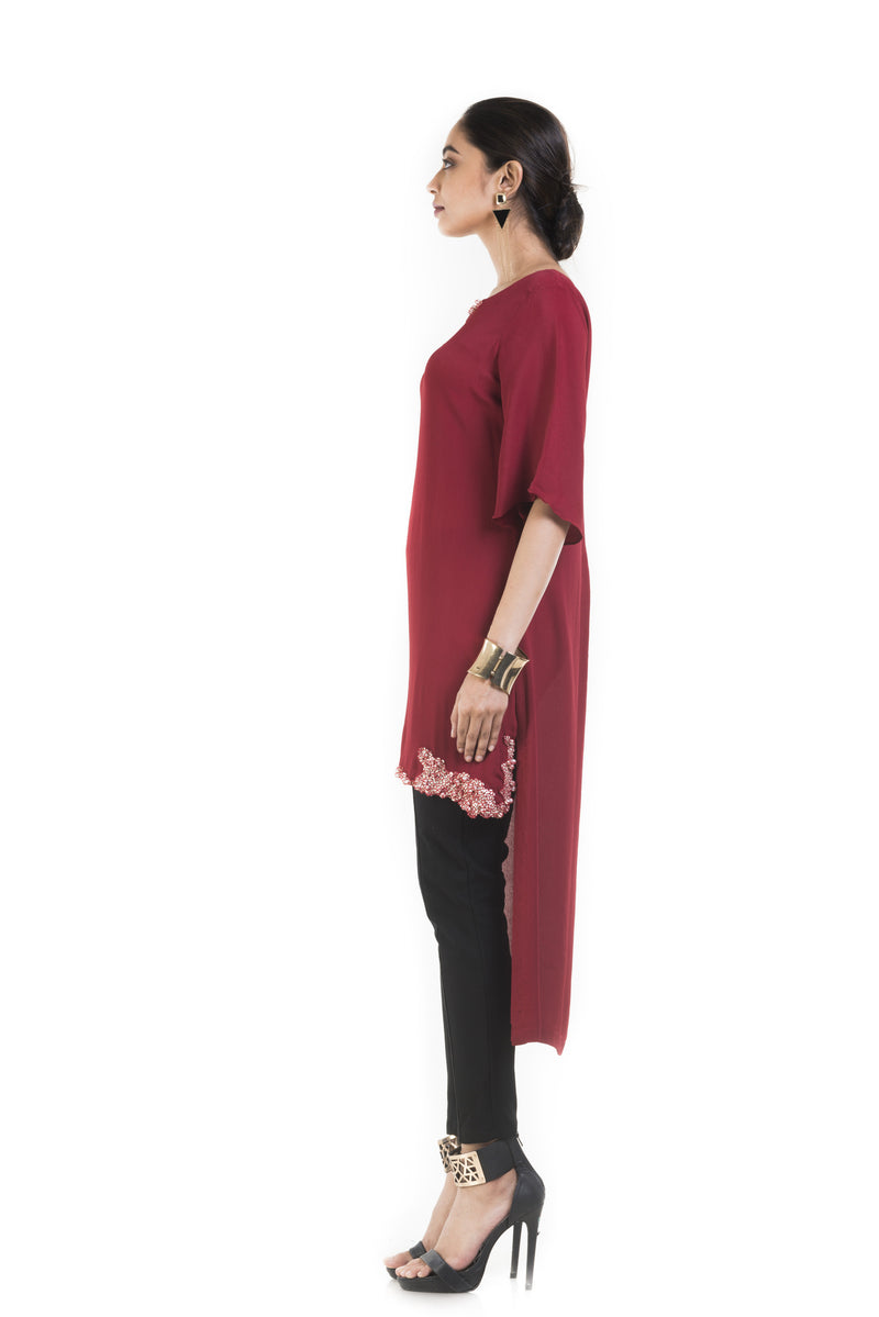 Wine Long Short Tunic With Box Sleeves