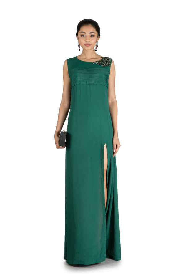 Pine Green Side Slit Long  Tunic