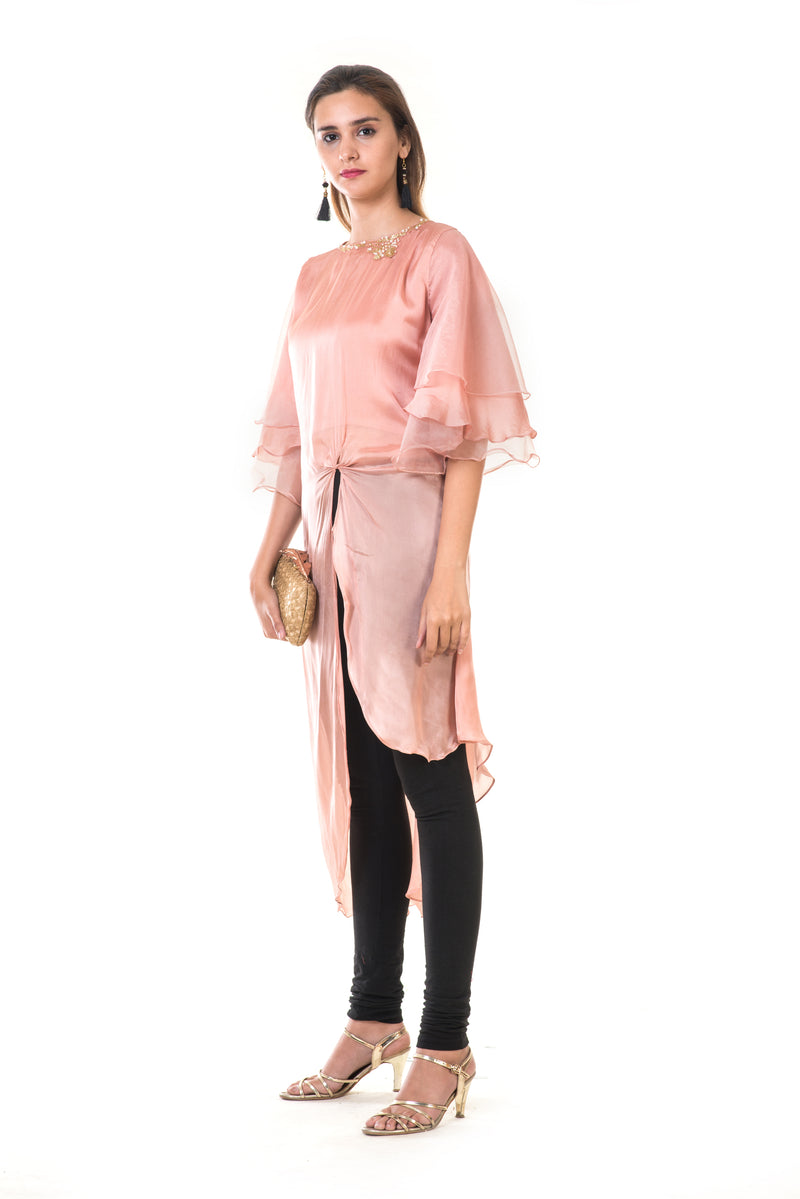 Hand Embroidered Rose Gold Layered Bell Sleeves High Low Tie-Knot Tunic