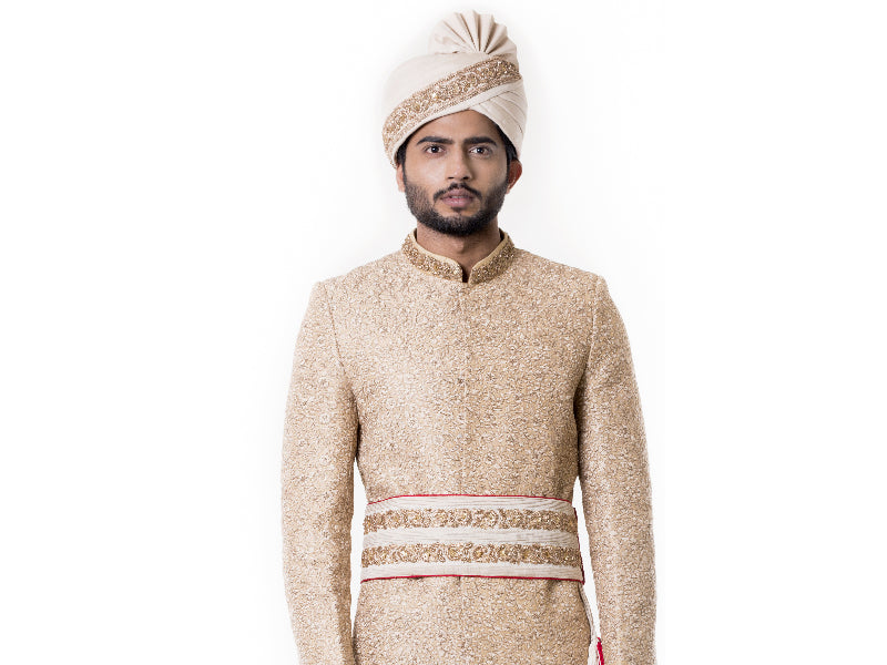 Cream Kurta with Zadi Embroidered Beige Sherwani set