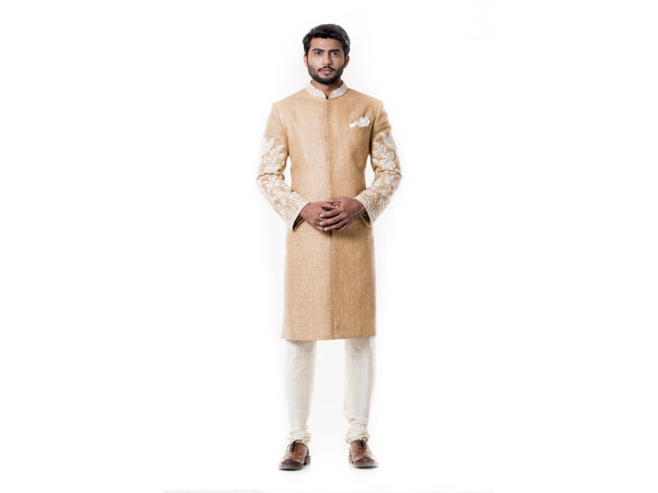 Cream Kurta with Hand Embroidered Beige Sherwani set