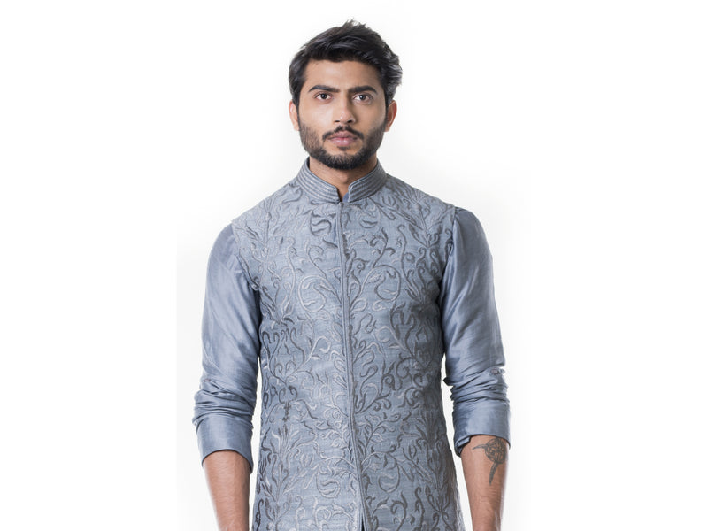 Grey Cowl Kurta with Full Embroidered Grey Waist Coat set