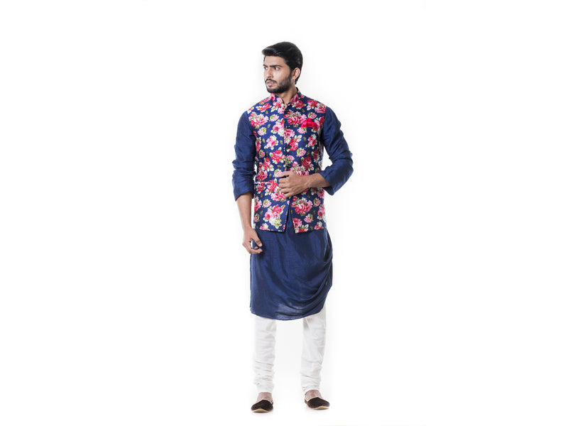 Blue Cowl Kurta Set & Blue floral printed Waist Coat Set.