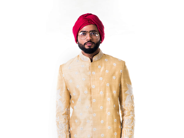 Off-White Thread Work Embroidery Sherwani Set