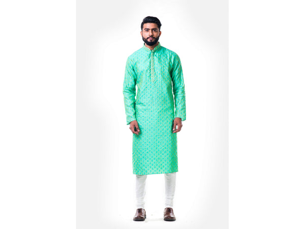 Pastel Green Thread Embroidery Kurta Set